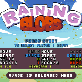 Raining Blobs main menu